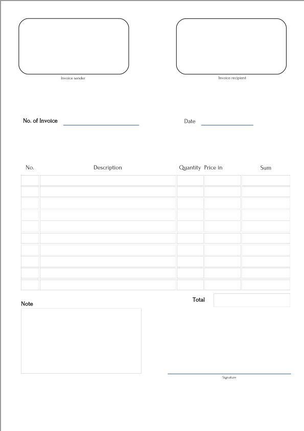 free fillable invoice form template